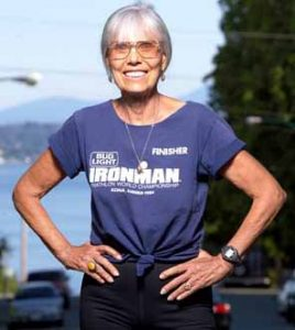Veteran runner, Ruth Heidrich, poses at an Ironman Triathlon