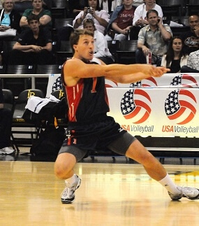 Dustin Watten playing volleyball